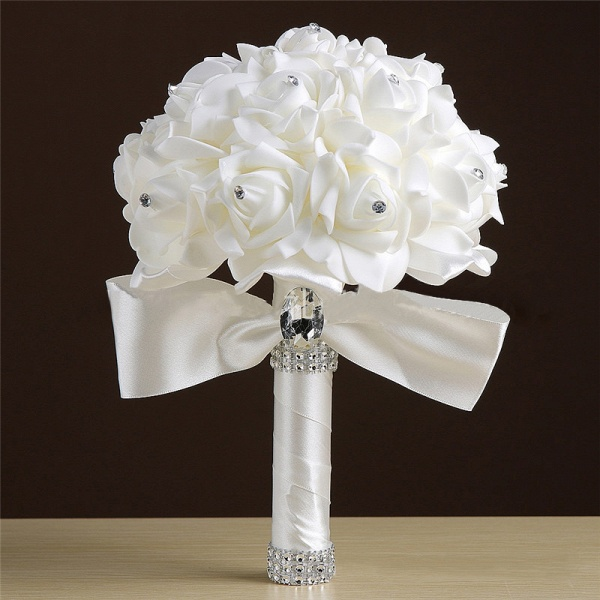 White Silk Rose Crystal Beading Bouquet in Colorful Handles_2
