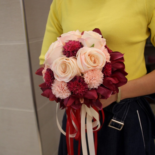 Silk Rose Artificial Orchid and Marigold Wedding Bouquet_9