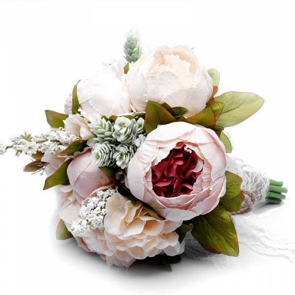 Small Real Touch Pink Rose Bouquet with Lace Ribbon_5