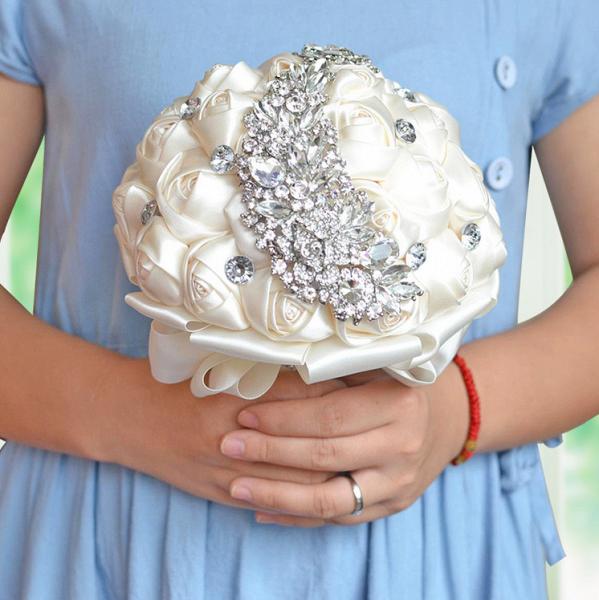 Slik Rose Beading Wedding Bouquet in Multiple Colors_11