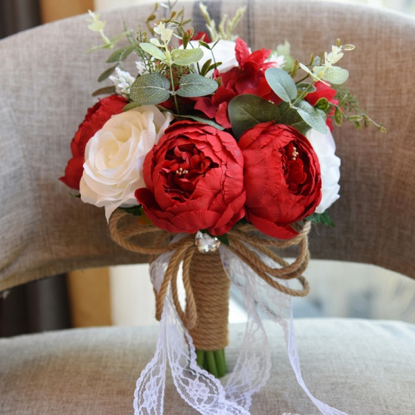 Real Touch Colorful  Artifial Roses Wedding Bouquet_4
