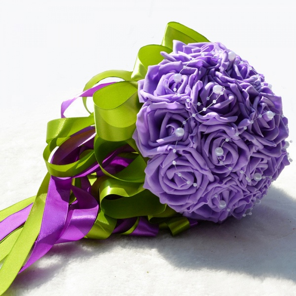 Gogerous Silk Rose Multiple Colors Wedding Bouquet