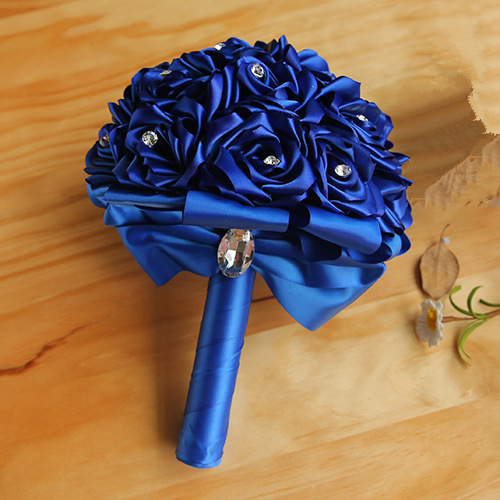 Colorful Silk Rose Wedding Bouquet with Crystals_6