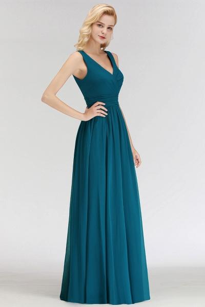 NORA | A-line V-neck Sleeveless Floor Length Ruffles Chiffon Bridesmaid Dresses_7