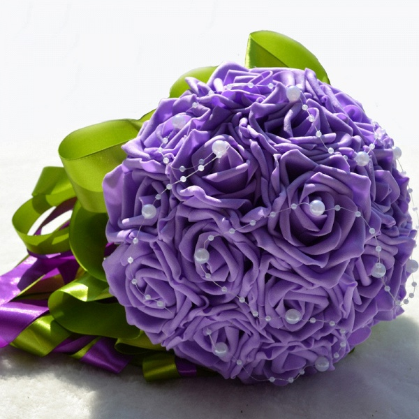 Gogerous Silk Rose Multiple Colors Wedding Bouquet_8