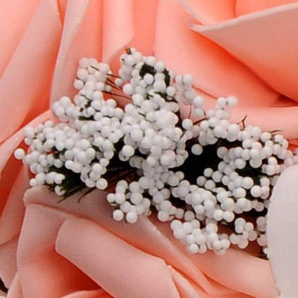 Two Colors Silk Flowers Wedding Bouquet with Ribbon_9