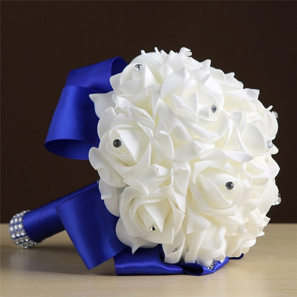 White Silk Rose Crystal Beading Bouquet in Colorful Handles_9