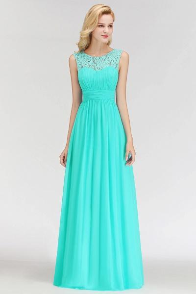 A-line Sleevless Long Lace Appliques Bridesmaid Dress_4