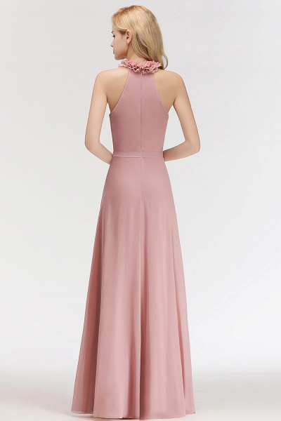 A-line Chiffon Halter Sleeveless Ruffled Floor Length Bridesmaid Dresses_54