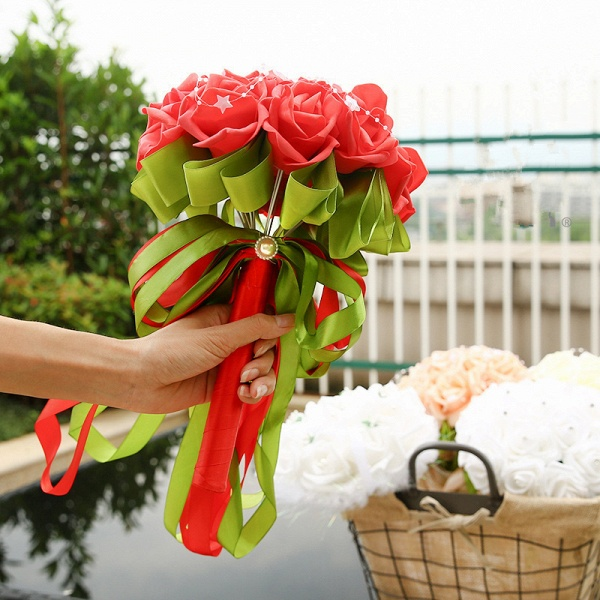 Colorful Silk Rose Bouquet for Wedding with Ribbons_3