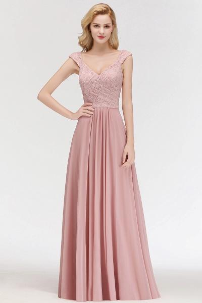 MARIA | A-line Long V-neck Sleeveless Lace Top Chiffon Bridesmaid Dresses_6