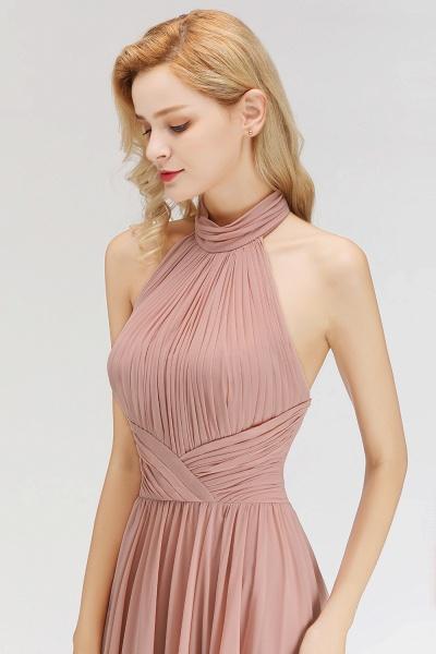A-line Floor Length Halter Ruffled Chiffon Bridesmaid Dresses_7