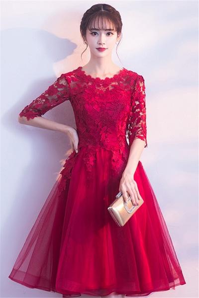 MARGARET   A-line Half sleeves Short Burgundy Appliques Tulle Homecoming Dresses_8