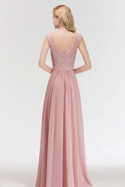 MARIA | A-line Long V-neck Sleeveless Lace Top Chiffon Bridesmaid Dresses_3