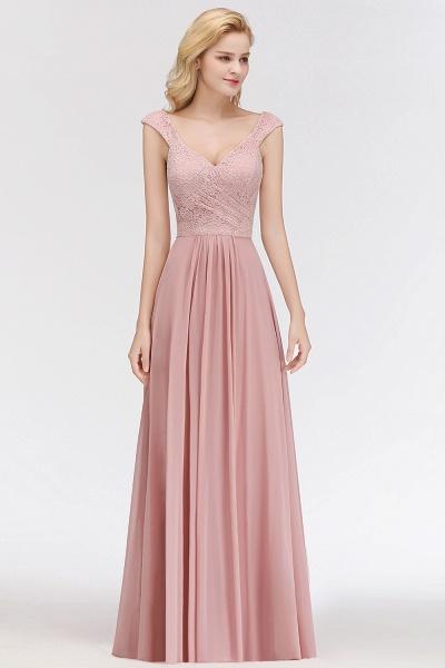 MARIA | A-line Long V-neck Sleeveless Lace Top Chiffon Bridesmaid Dresses_5