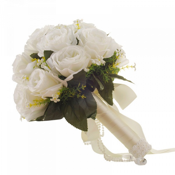 White Rose Artificial Wedding Bouquet with Handle_5