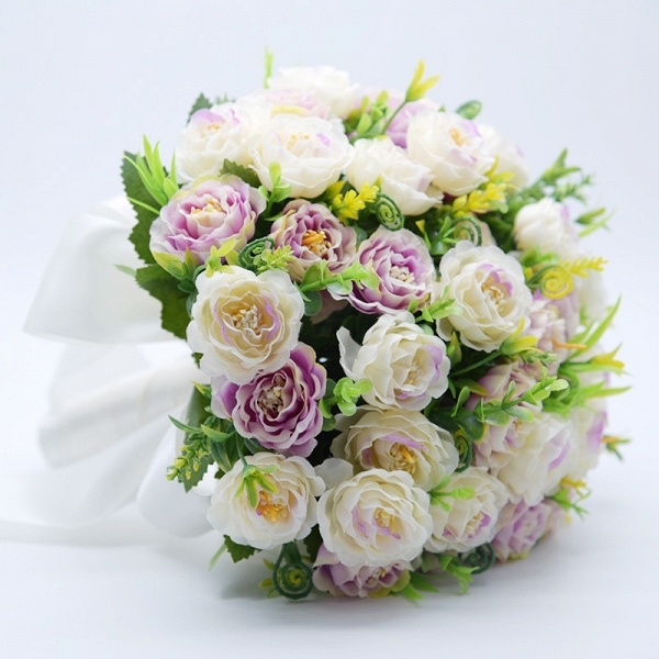 Artificial Rose Wedding Bouquet in Two Colors_7