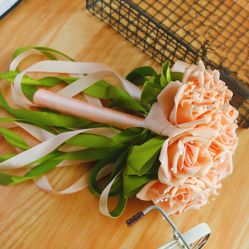 Colorful Silk Rose Bouquet for Wedding with Ribbons_4