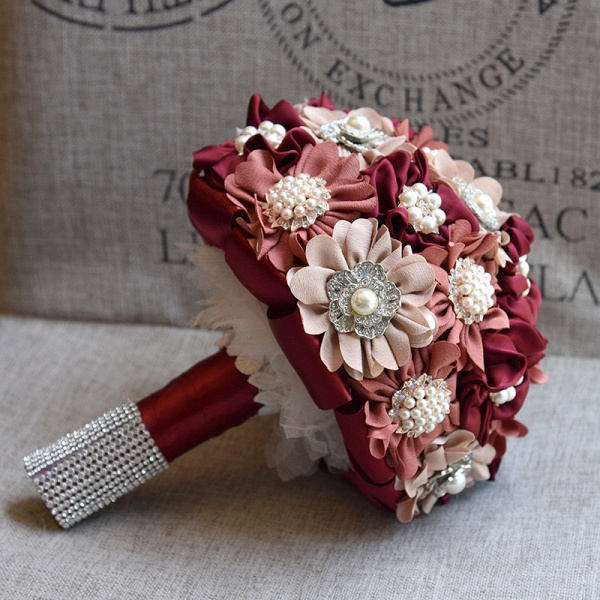 Silk Rose Pearls Wedding Bouquet in Three Tune Colors_7