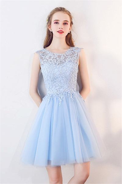 MARCIA | A-line Sleeveless Short Appliqued Top Tulle Homecoming Dresses_1