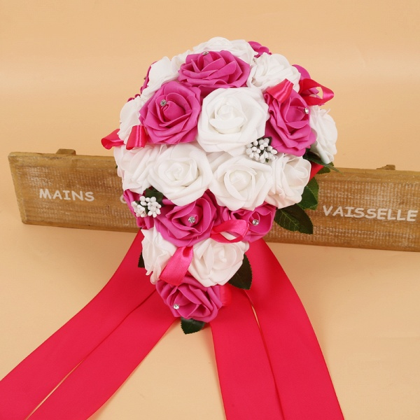 Colorful Silk Rose Wedding Bouquet with Ribbons_4