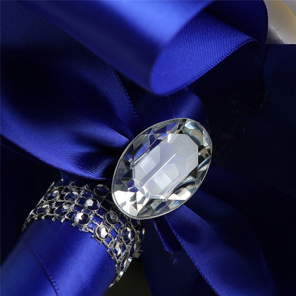 White Silk Rose Crystal Beading Bouquet in Colorful Handles_12