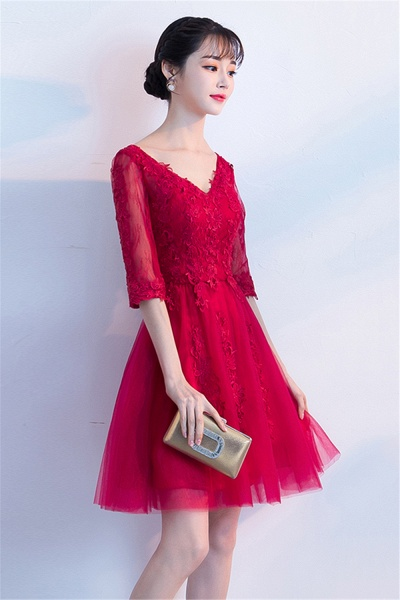 MARGE   A-line V-neck Half Sleeves Tulle Appliques Homecoming Dresses_8