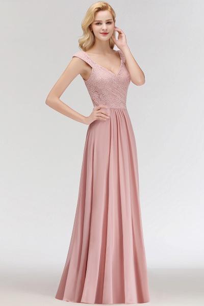 MARIA | A-line Long V-neck Sleeveless Lace Top Chiffon Bridesmaid Dresses_8