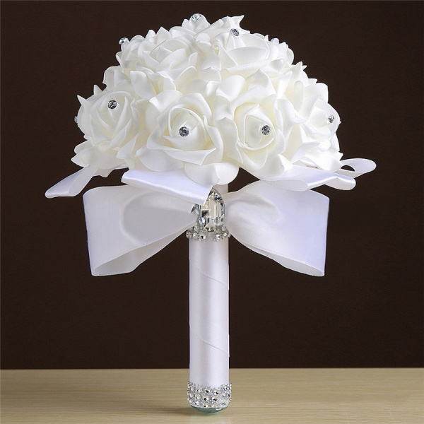 White Silk Rose Crystal Beading Bouquet in Colorful Handles_1