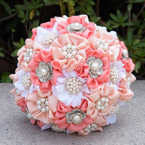 Silk Rose Pearls Wedding Bouquet in Three Tune Colors_4