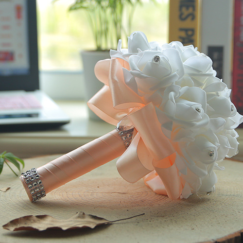 White Silk Wedding Bouquet with Colorful Handles_4