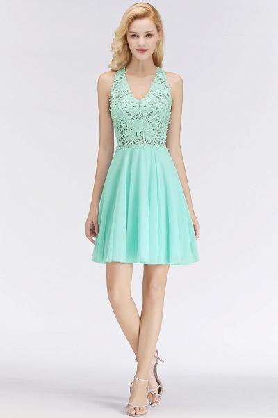 BM0064 V-Neck Short Lace A-Line Sleeveless Bridesmaid Dress_4