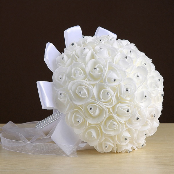 Ivory Silk Rose wedding Bouquet with Beads_3