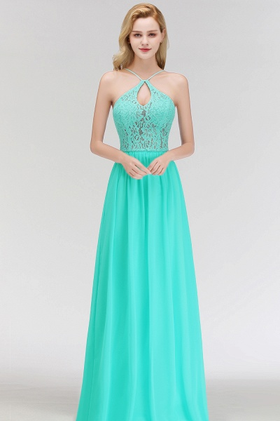 Keyhole Neckline Lace A-line Long Spaghetti Bridesmaid Dress_7
