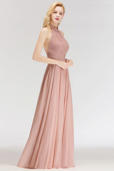 A-line Floor Length Halter Ruffled Chiffon Bridesmaid Dresses_5