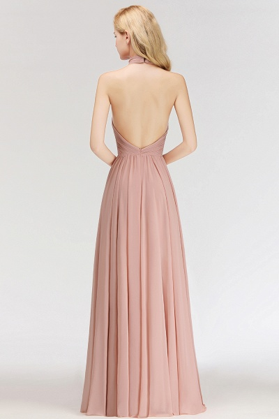 A-line Floor Length Halter Ruffled Chiffon Bridesmaid Dresses_3