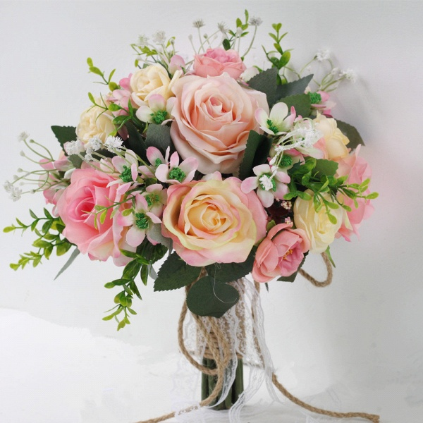 Two colors Artificial Real Touch Rose Bouquet for wedding_1