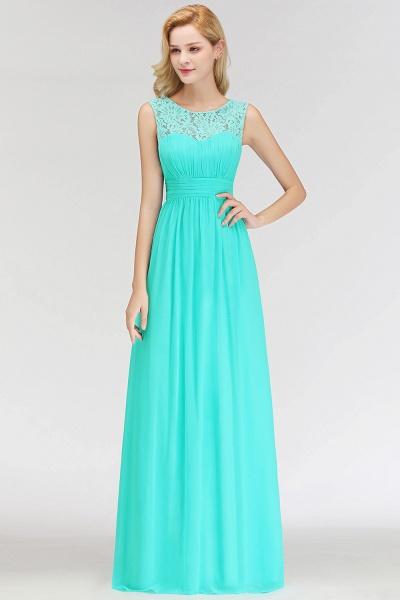 A-line Sleevless Long Lace Appliques Bridesmaid Dress_5
