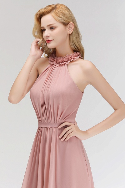 A-line Chiffon Halter Sleeveless Ruffled Floor Length Bridesmaid Dresses_56