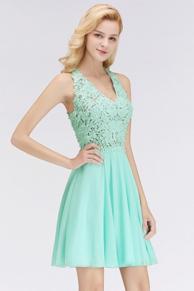 BM0064 V-Neck Short Lace A-Line Sleeveless Bridesmaid Dress_5