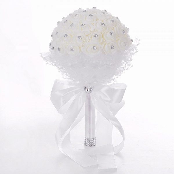 Elegant Pure White Beading Wedding Bouquet with Lace Ribbon