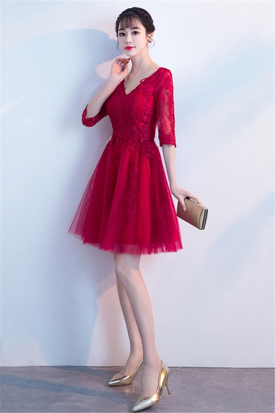 MARGE | A-line V-neck Half Sleeves Tulle Appliques Homecoming Dresses_7