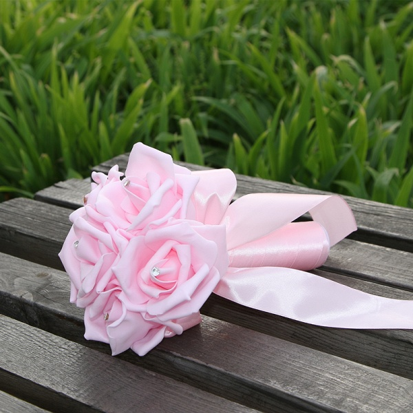 Simple Silk Rose wedding Bouquet in Multiple Colors_3