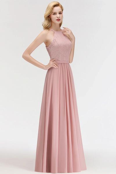 MARIANNA | A-line Sleeveless Halter Long Lace Chiffon Bridesmaid Dresses_5