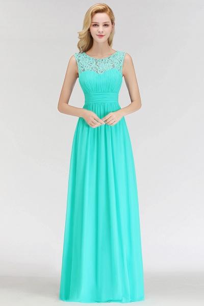 A-line Sleevless Long Lace Appliques Bridesmaid Dress_8