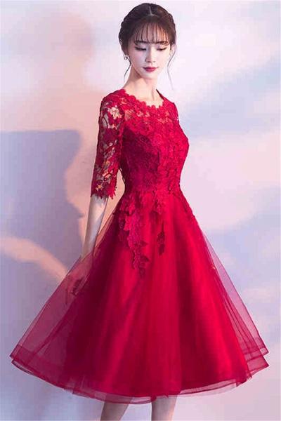 MARGARET   A-line Half sleeves Short Burgundy Appliques Tulle Homecoming Dresses_2