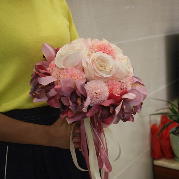 Silk Rose Artificial Orchid and Marigold Wedding Bouquet_1