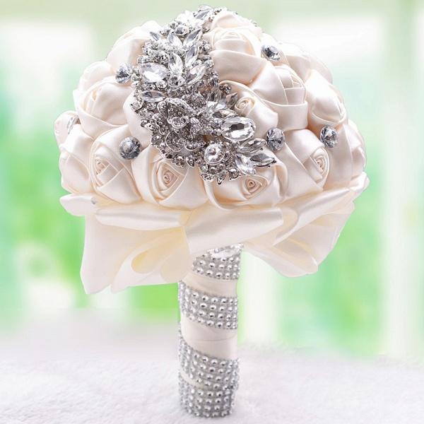 Slik Rose Beading Wedding Bouquet in Multiple Colors_10
