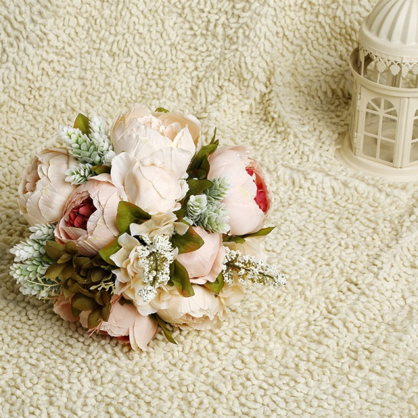 Small Real Touch Pink Rose Bouquet with Lace Ribbon_6