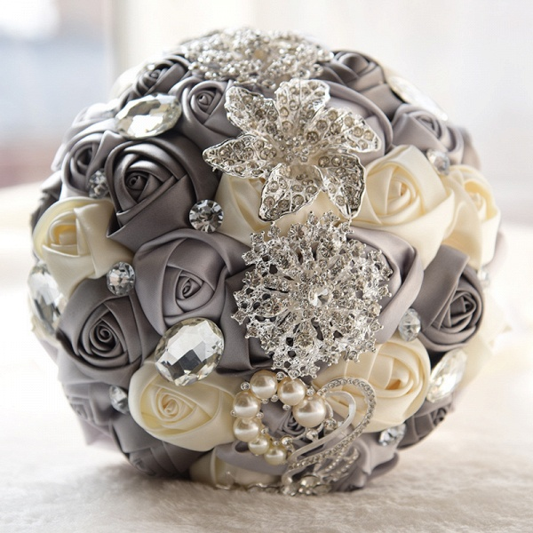 Colorful Silk Rose Crystal Beading Wedding Bouquet_1